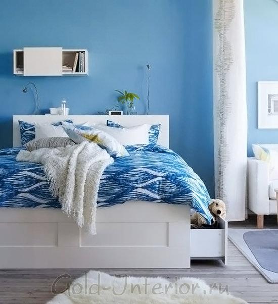 Идеальное цветовое сочетание для спальни: синий + белый