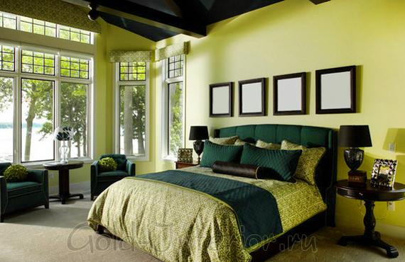 Идеальное сочетание цветов в спальне: оливковый, салатовый и тёмно-коричневый