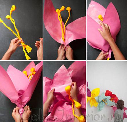 Инструкция по созданию гирлянды цветов из бумаги