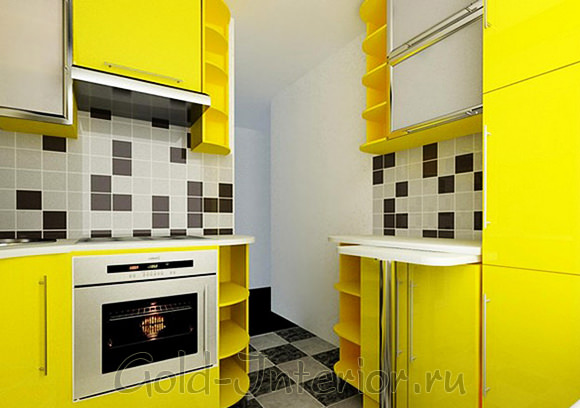 Интерьер 6 метровой кухни с жёлтым гарнитуром