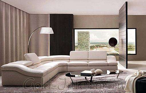Интерьер гостиной с угловым диваном