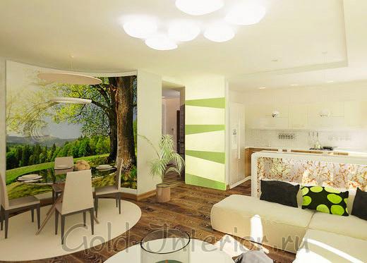Интерьер гостиной в эко стиле