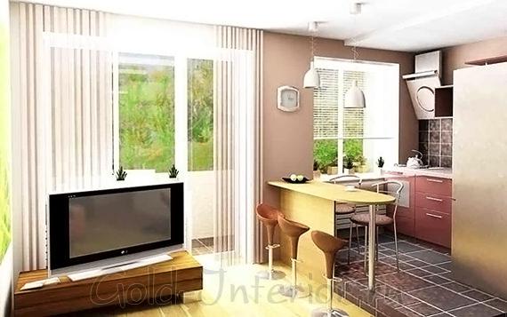 Интерьер кухни в 1-комнатной квартире хрущёвки