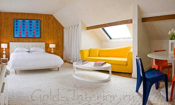 Интерьер комнаты с перегородками
