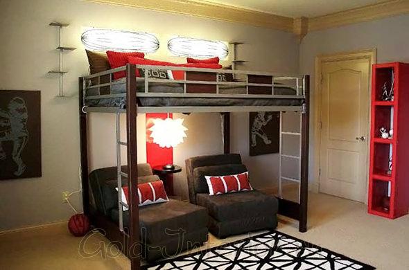 Интерьер подростковой комнаты для мальчика: красный + шоколадный цвет