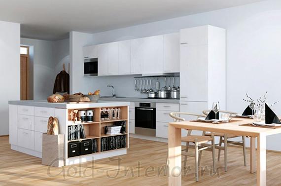 Интерьер прихожей однокомнатной квартиры объединён с кухней