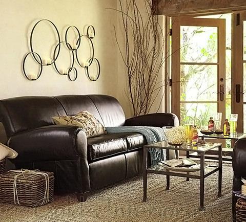 Интерьер с диваном цвета венге