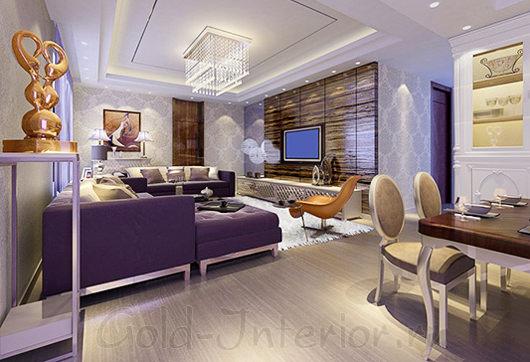 Интерьер студии с фиолетовым диваном