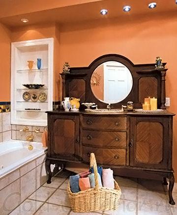 Палитра для интерьера ванной: терракота, венге и беж
