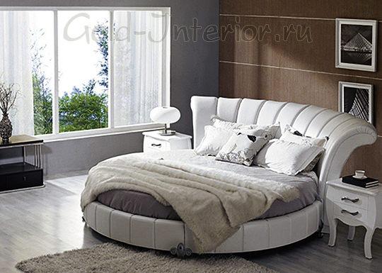 Изящная кожаная круглая кровать