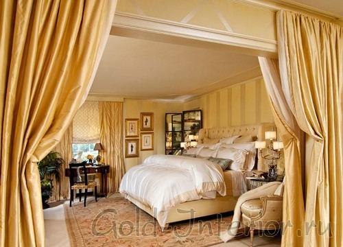 На картинке изображён интерьер спальни в жёлтом цвете