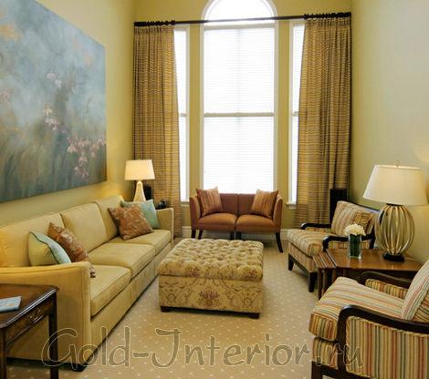 Жёлтые шторы в дизайне интерьера