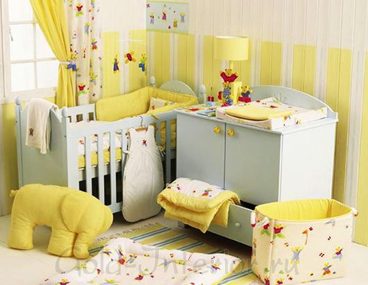 Жёлтый + белый цвет в комнате новорождённой девочки