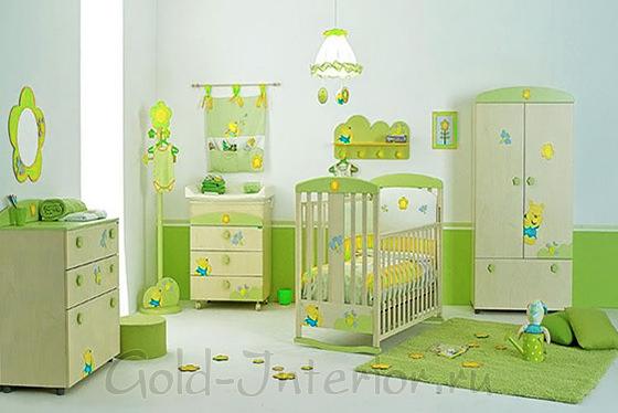 Жёлтый + салатовый цвет в интерьере комнаты новорождённого малыша