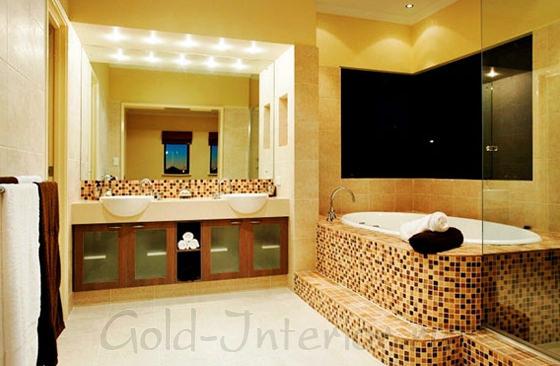 Жёлтый интерьер ванной комнаты