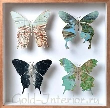 Картина с бабочками из атласа под стеклом и в рамке