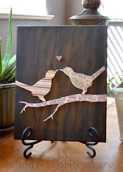 Картина с силуэтами птиц для украшения интерьера
