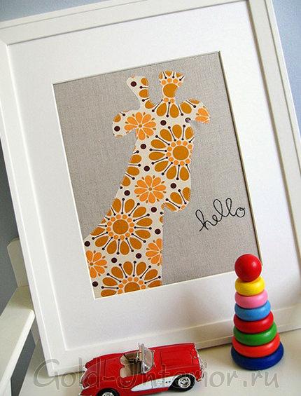 Картина с силуэтом жирафа для интерьера детской комнаты