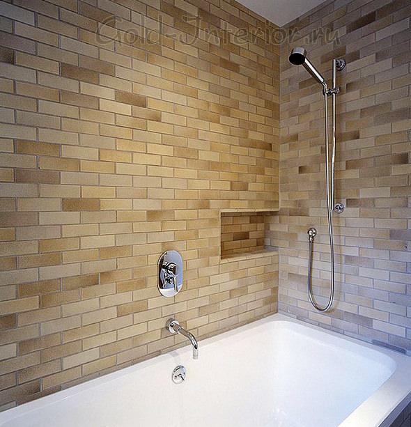 Кирпич светлых и бежевых оттенков в интерьере ванной