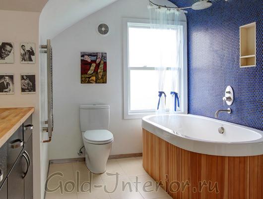 Кобальтовый+карамельный оттенки в декорировании ванной комнаты