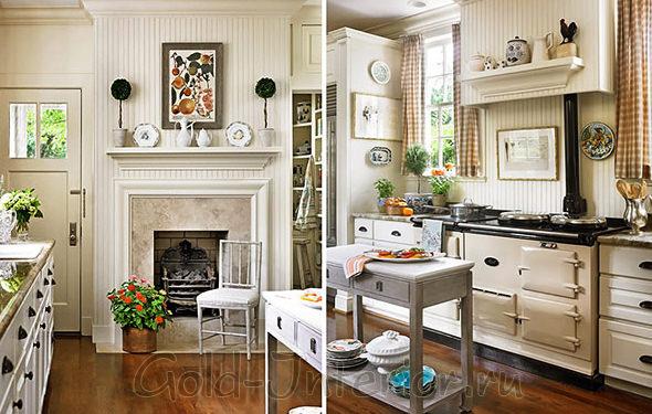 Кофе-молочный цвет и узоры в декоре кухни