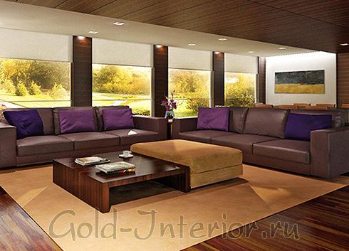 Кофейный диван + сине-фиолетовые подушки