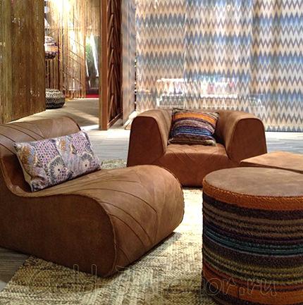 Кожаная мебель с оригинальными текстурами от Миссони
