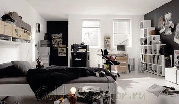 Комната для мальчика 17 лет: чёрно-белый интерьер