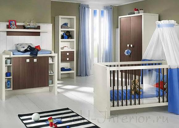 Комната для новорождённого мальчика: светлый синий + шоколадный + белый