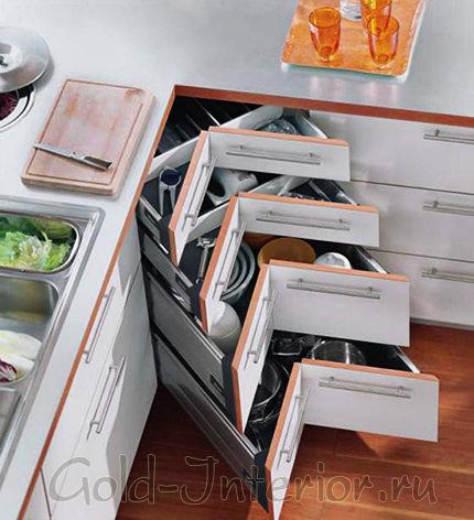 Компактные треугольные ящики для кухни