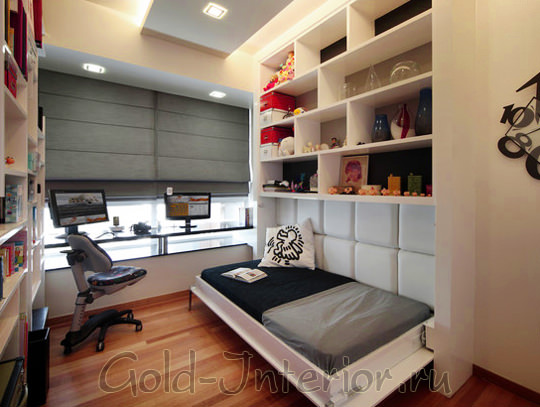 Компактное оформление маленькой спальни