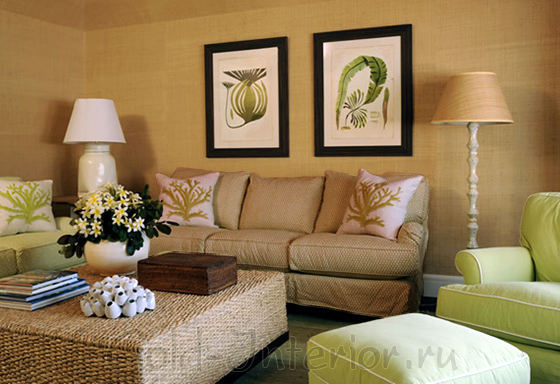 Коричневые оттенки в интерьере + диван цвета хаки