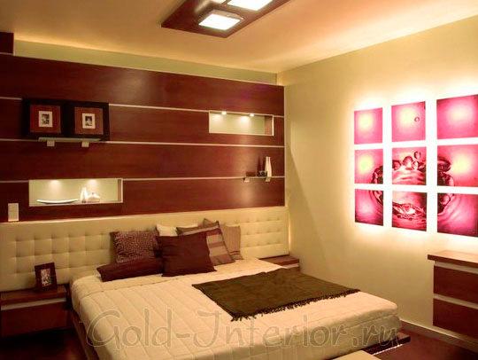 Коричневый, бежевый и розовый цвет в интерьере спальни