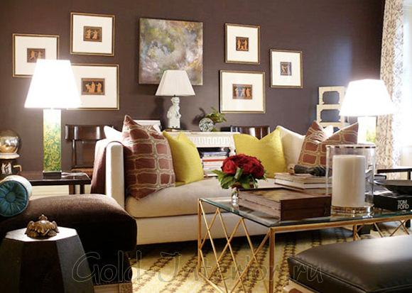 Коричневый цвет и осенние оттенки в гостиной