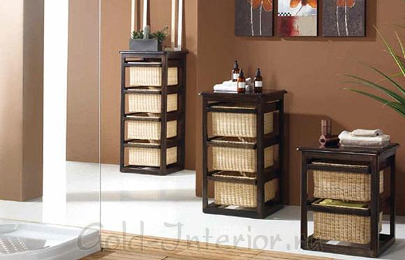 Корзинки из бамбуковой соломки в интерьере ванной