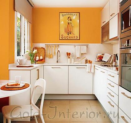 Красивый интерьер маленькой кухни