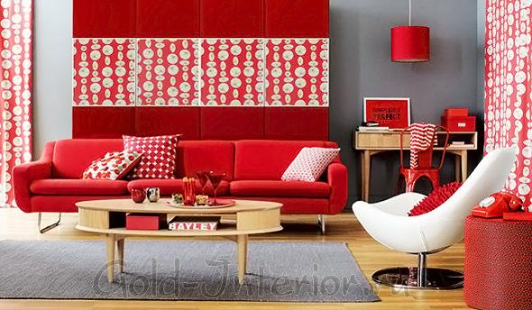 Красивое оформление гостиной красной палитрой