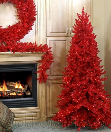 Красная ель к новому году