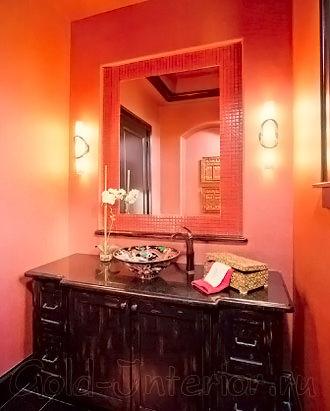 Красные стены в интерьере ванной