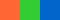 Красно-оранжевый и зелёный с синим