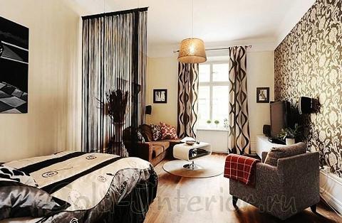 Кремовый+шоколадный цвет в дизайне однокомнатной квартиры