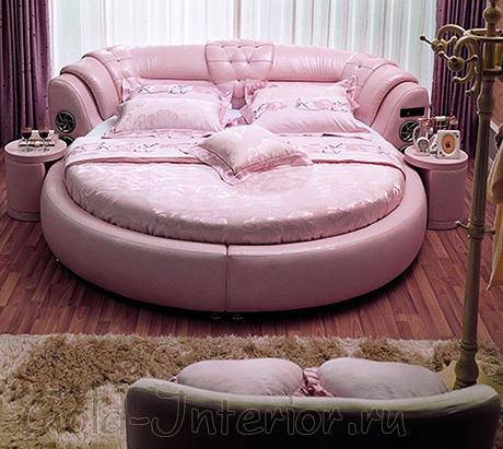 Круглая двуспальная кровать из розовой кожи