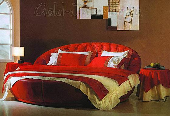 Круглая кровать алого цвета