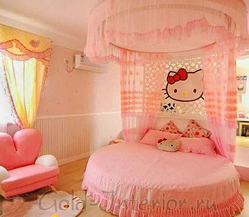 """Круглая кровать для девочки в стиле """"китти"""""""