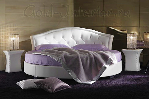 Круглая кровать из белой матовой кожи
