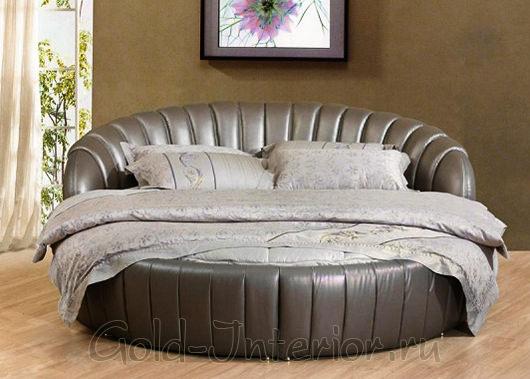Круглая кровать из искусственной кожи