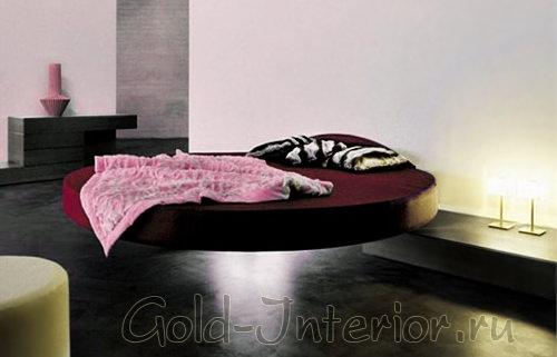 Круглая кровать, парящая в воздухе