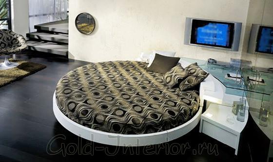 Круглая угловая кровать со стеклянными полками