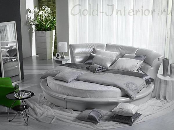 Круглый диван-кровать серебристого оттенка
