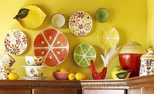 Кухня жёлтого цвета в стиле кантри